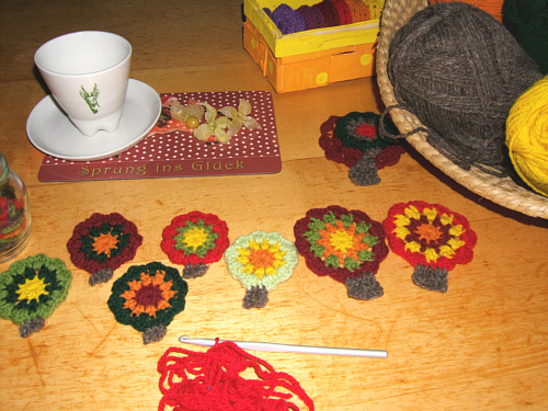 getting ready for a crochet garland