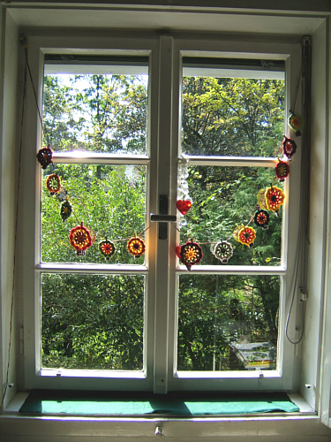 Selfmade garland for autumn, tree bunting