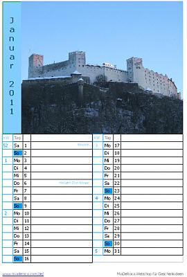 Vorschau Kalender Seite Januar 2011