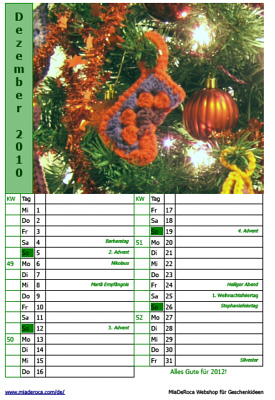 Preview Calendar Page December