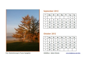 Photocalendar 2012 September, October vacations