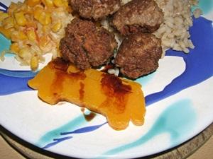 Kürbisfleisch mit Balsamico abgeschmeckt
