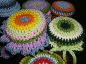 crochet jam jar lid cover