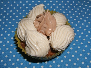 chocolate cupcake with light banana butter cream with Quark