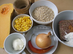 ingredients meat balls with squash